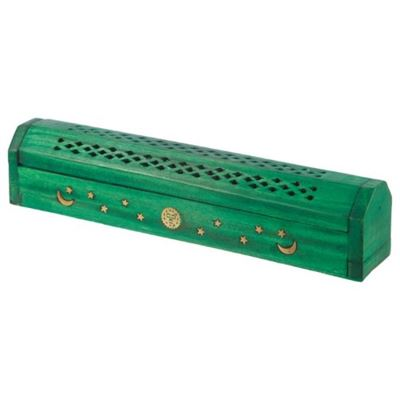 Green Mango Wood Incense Box With Sun, Moon & Stars
