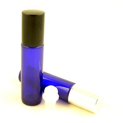 Glass Bottles Blue Roll On Ball Black Cap 12ml