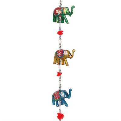 Wooden Elephant Hanging Decoration with Bell 89cm