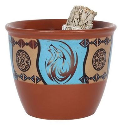 Terracotta Ceramic Smudge Bowl Dream Catcher Design
