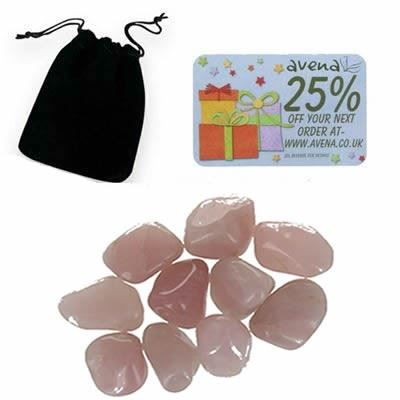Rose Quartz Gift Pouch of Ten Polished Tumblestones