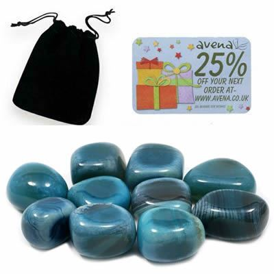 Agate Gift Pouch of Ten Polished Tumblestones