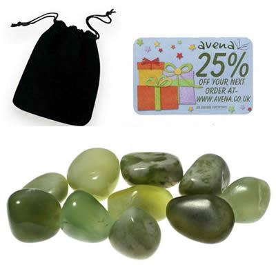 Jade Gift Pouch of Ten Polished Tumblestones