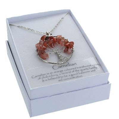Carnelian Tree of Life Pendant in Gift Box