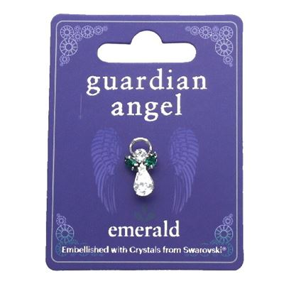 Emerald Guardian Angel Pin with Swarovski Crystal