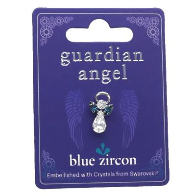 Blue Zircon Guardian Angel Pin with Swarovski Crystal