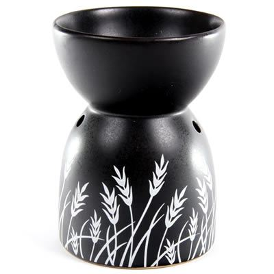Oil Burner Grass Design Black