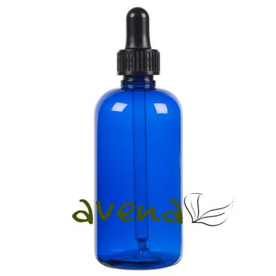 Plastic Bottles Blue with Glass Pipette Screw On Cap 100ml