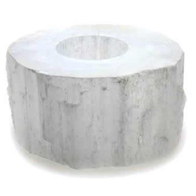 Selenite Candle Holder Cut Top