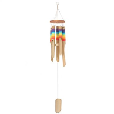 Bamboo Windchime With Rainbow Colours