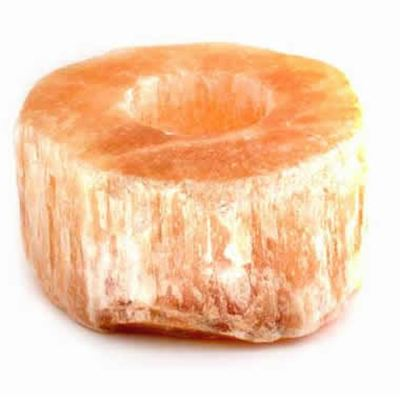 Red Selenite Candle Holder Cut Top
