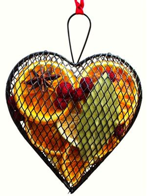 Metal Citrus Hanger with Ribbon Heart