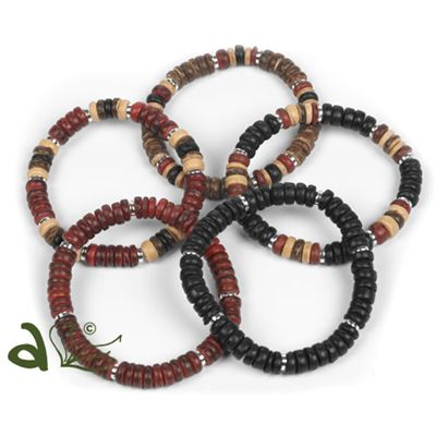 Cocoa Wood Bracelets Mixed Pack of 5