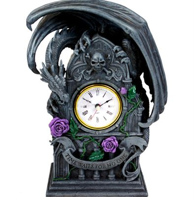 Dragon Clock with Purple Roses Large