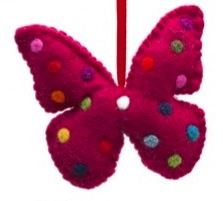 Red Fabric Butterfly Mobile