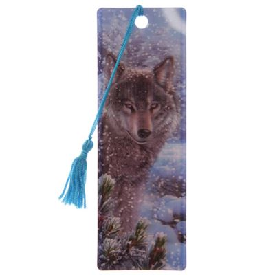 Wolf Stood in Snow 3D Bookmark by Lisa Parker