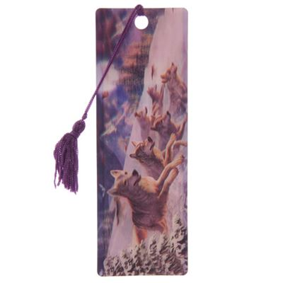 Wolf Pack Running 3D Bookmark by Lisa Parker