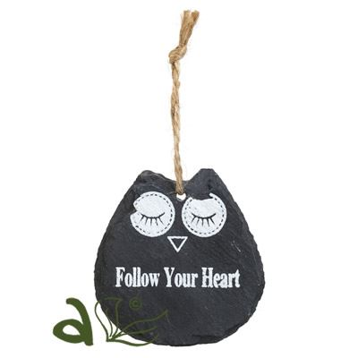Follow Your Heart Owl Slate Hanger