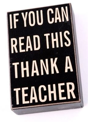 Thank a Teacher Wooden Block with Hanger