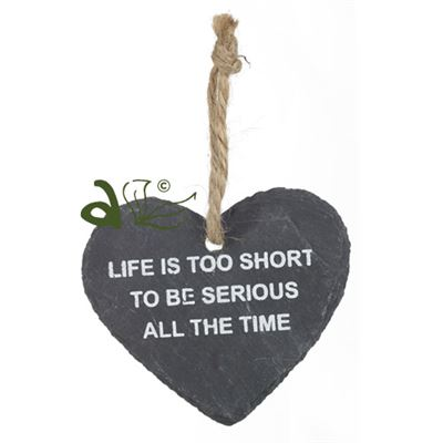 Life is Too Short Heart Slate Hanger