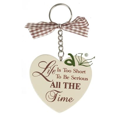 Life is Too Short Wooden Heart Key Ring