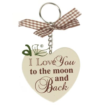 I Love You Wooden Heart Key Ring
