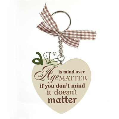 Mind over Matter Wooden Heart Key Ring