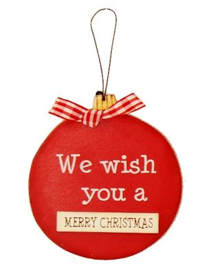 We Wish You a Merry Christmas Wooden Bauble Hanger