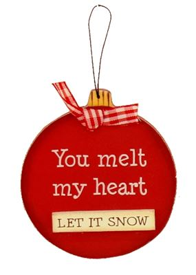 Let It Snow Wooden Bauble Hanger