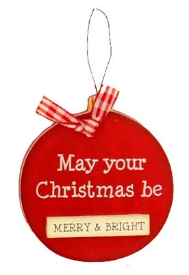 Merry & Bright Christmas Wooden Bauble Hanger