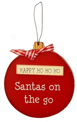 Happy Ho Ho Ho Wooden Bauble Hanger