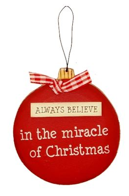 Always Believe Wooden Bauble Hanger