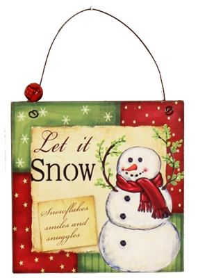 Let It Snow Wooden Plaque Hanger with Bell