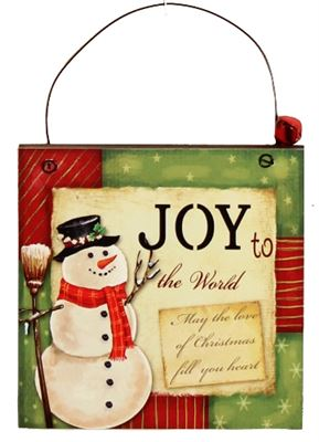 Joy to the World Wooden Plaque Hanger with Bell