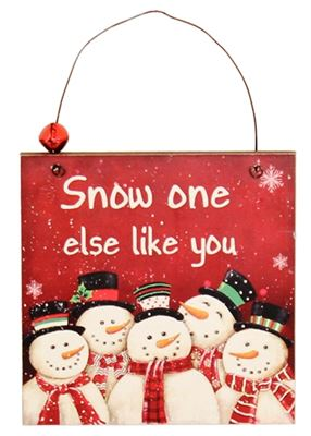 Snow One Else Like You Wooden Plaque Hanger with Bell