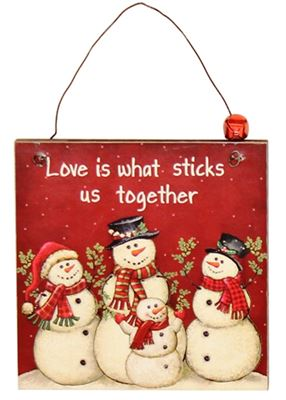 Love is What Sticks Us Together Wooden Plaque Hanger with Bell