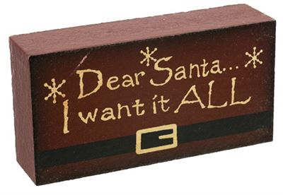 Dear Santa Word Block I Want It ALL