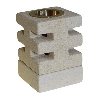 Indonesian Sandstone Oil Burner Square Abstract Cut Design