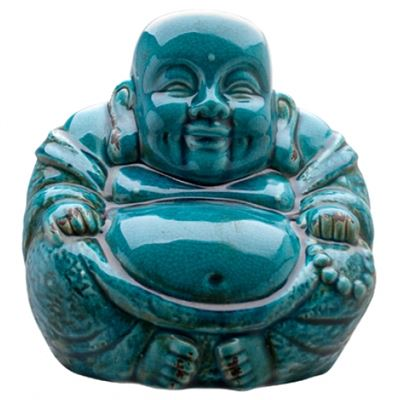 Buddha Laughing Extra Large Crackle Blue