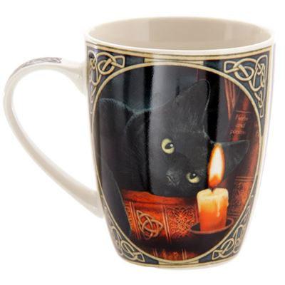 Black Cat with Candle Bone China Mug