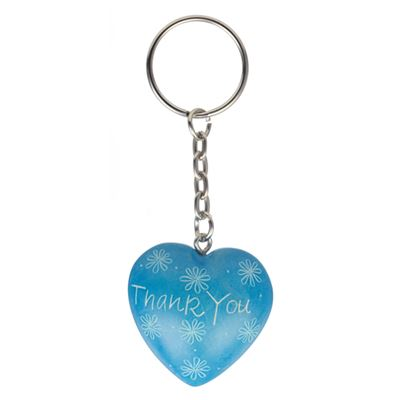 Blue Thank You Soapstone Keyring