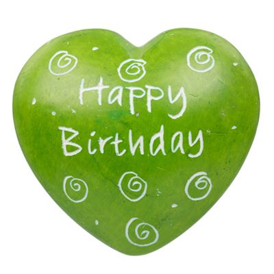 Happy Birthday Green Soapstone Heart