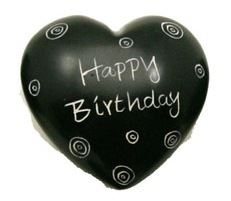 Happy Birthday Black Soapstone Heart