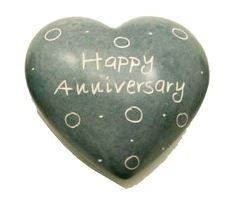 Happy Anniversary Grey Soapstone Heart