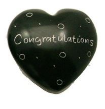 Congratulations Black Soapstone Heart