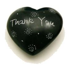 Black Thank You Soapstone Heart
