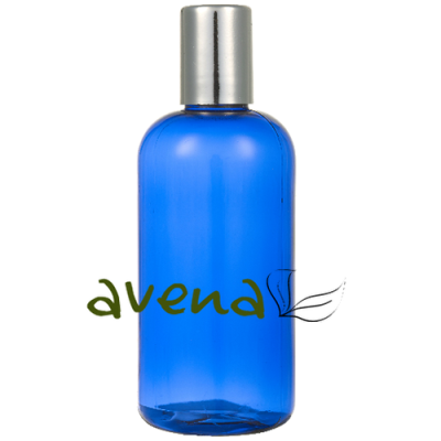 Plastic Bottles Blue with Silver Screw On Cap 100ml