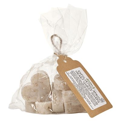 Exfoliating Apricot Heart Soaps Gift Bag of 7