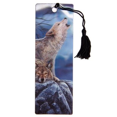 Howling Wolf at Night 3D Bookmark by Lisa Parker
