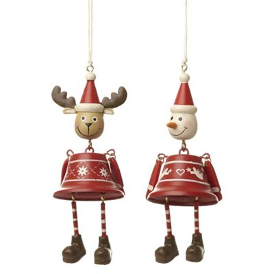 Reindeer & Snowman Hanging Bells Two Pack